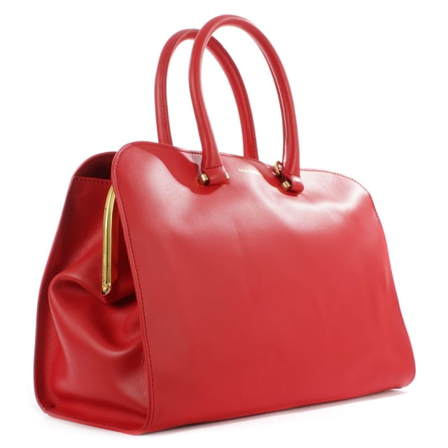 Lulu Guinness Vivienne Medium Smooth Red Leather Tote Bag