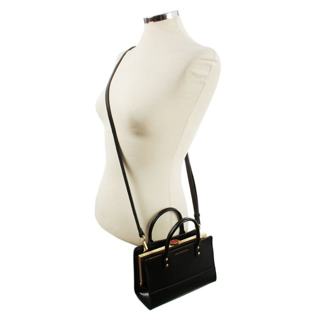 Lulu Guinness Daphne Mini Polished Black Leather Cross-Body Bag