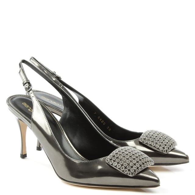 Sergio Rossi Black Leather Eloise Sling Back Court Shoe