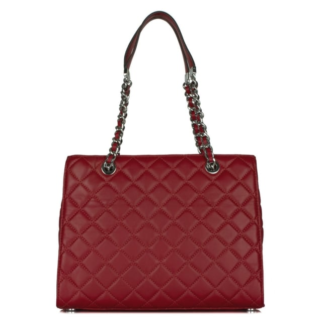 Michael Kors Susannah Medium Cherry Leather Quilted Tote