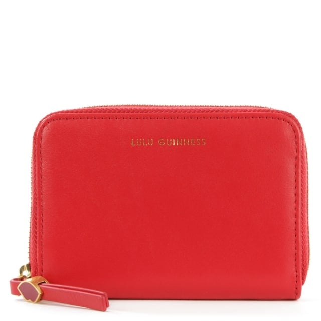 Lulu Guinness Small Smooth Red Leather Zip Around Purse