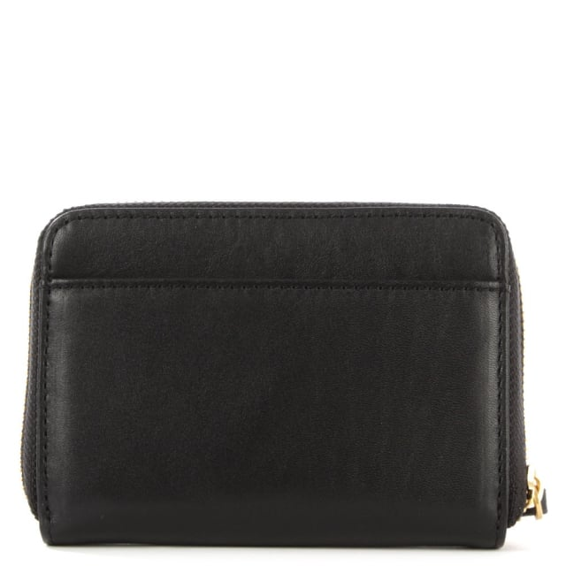 Lulu Guinness Small Smooth Black Leather Zip Around Purse