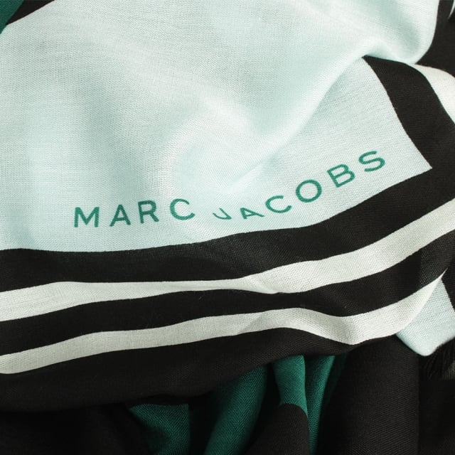 Marc Jacobs Monogram Flower Green Wool Shawl