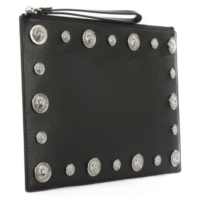 Versus Versace Embellished Black Leather Pouch