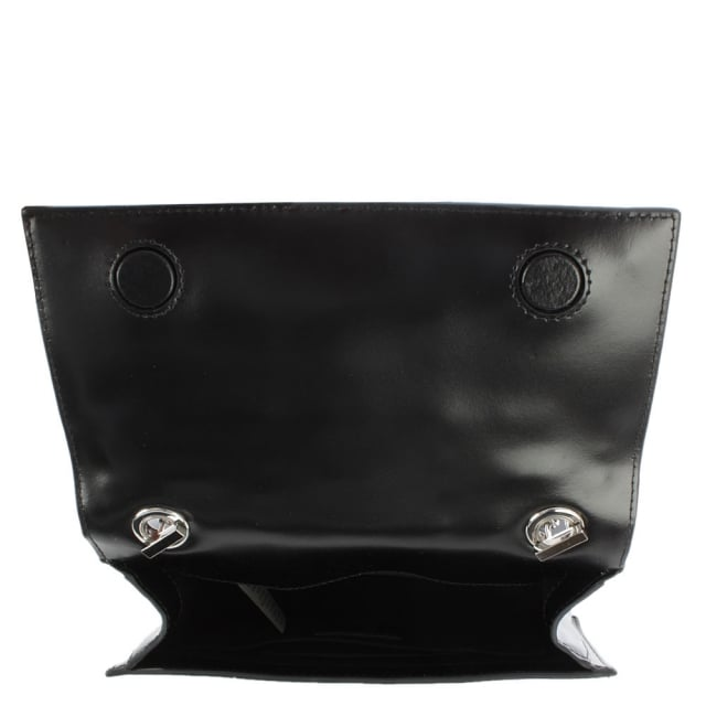 Versus Versace Embellished Black Leather Flapover Cross-Body Bag