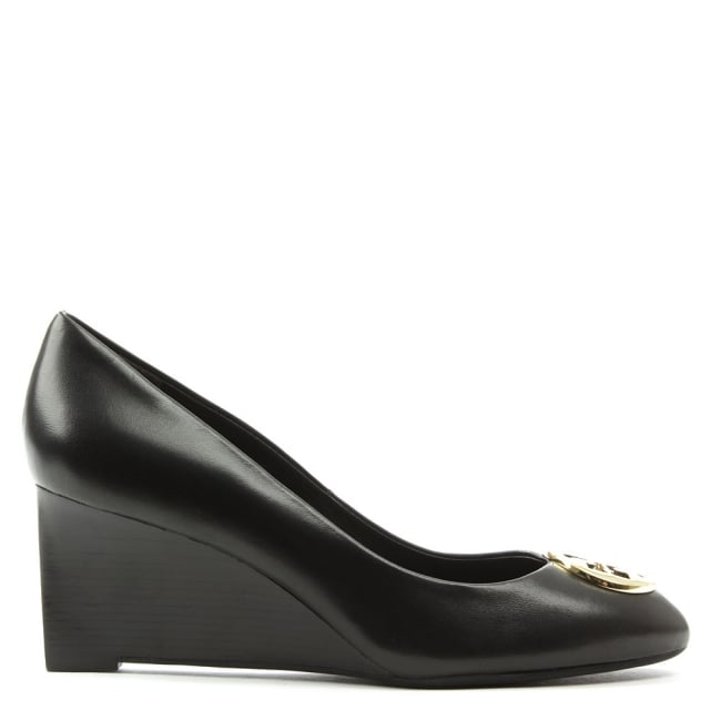 Tory Burch Alice Black Leather Wedge Court Shoe