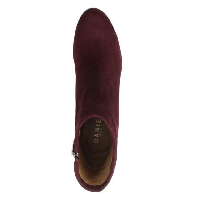 Daniel Enthusiasm Burgundy Suede Metal Trim Heeled Ankle Boot