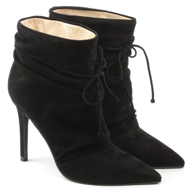 Daniel Erika Black Suede Ruched Front Ankle Boot