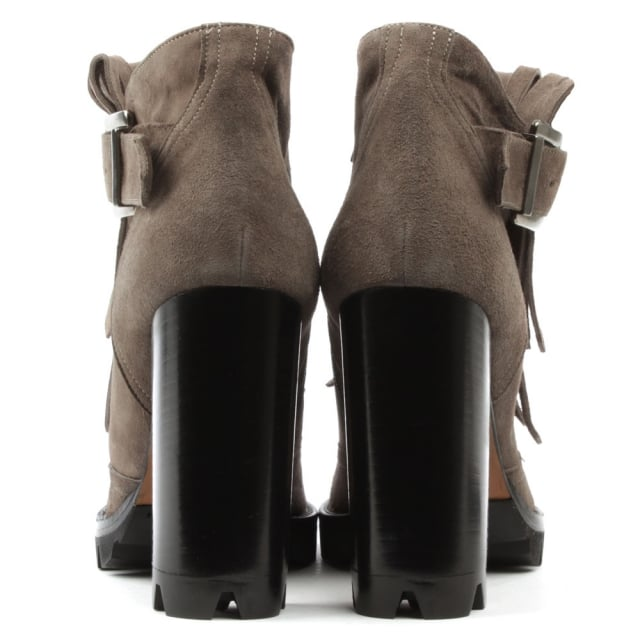 Daniel Esther Taupe Suede Tassel Front Block Heel Ankle Boot