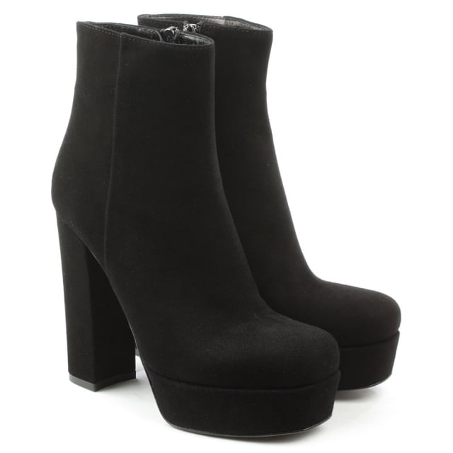 Daniel Gemma Black Suede High Block Heel Ankle Boot