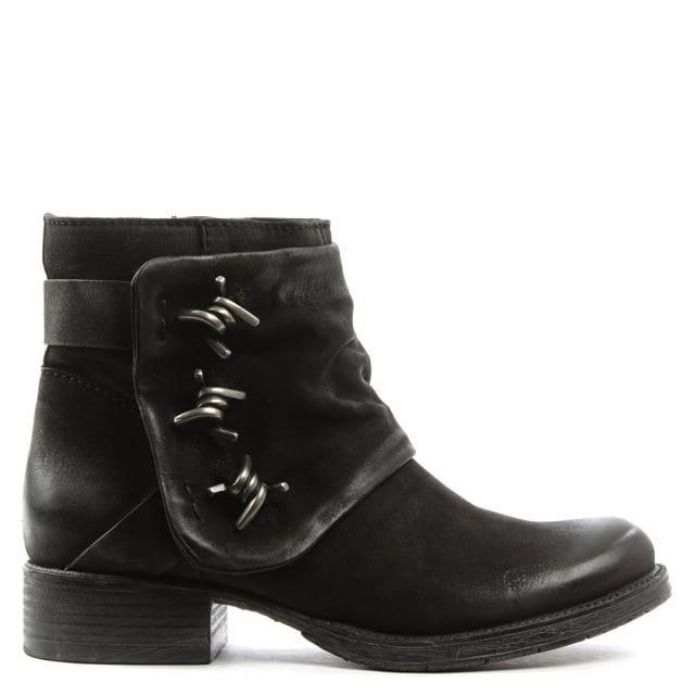 Daniel Magsy Black Leather Barbed Chunky Ankle Boot