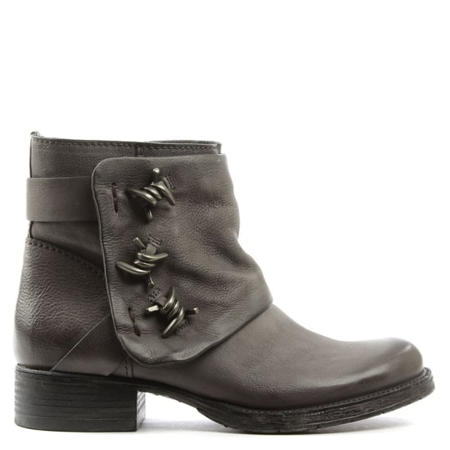 Daniel Magsy Grey Leather Barbed Chunky Ankle Boot