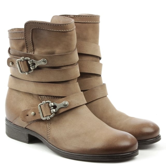 Daniel Meghan Taupe Leather Double Buckle Ankle Boot