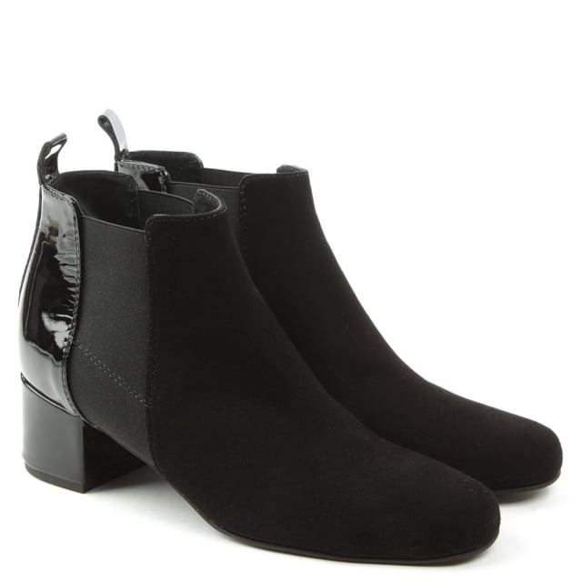 Daniel Mimi Black Suede Patent Back Ankle Boot