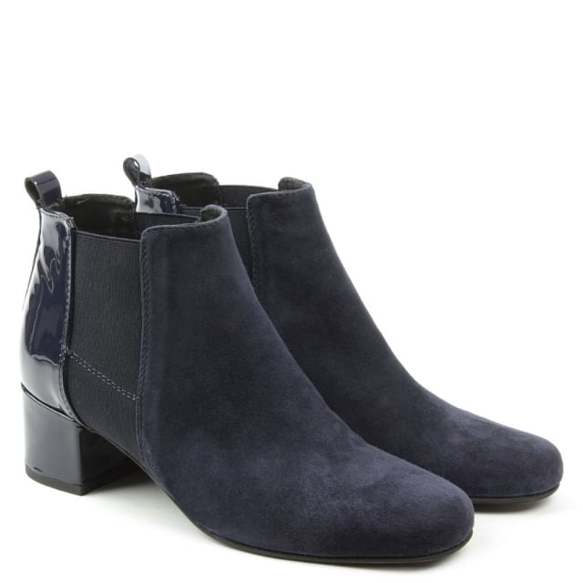 Daniel Mimi Navy Suede Patent Back Ankle Boot