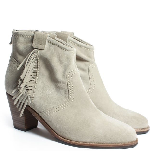 Kennel & Schmenger Abashiri Beige Suede Zip Back Fringed Ankle Boot