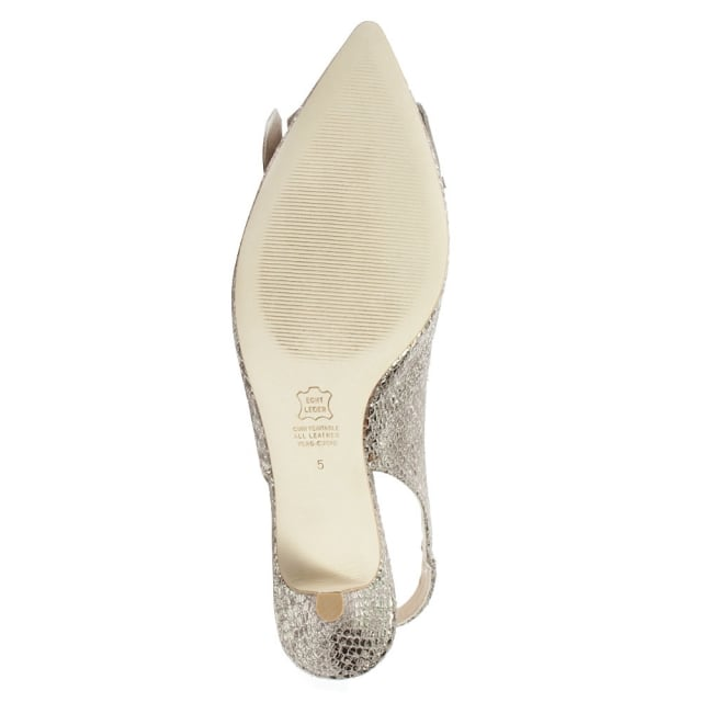 Kennel & Schmenger Castellets Gold Reptile Sling Back Fringe Kitten Heel Shoe