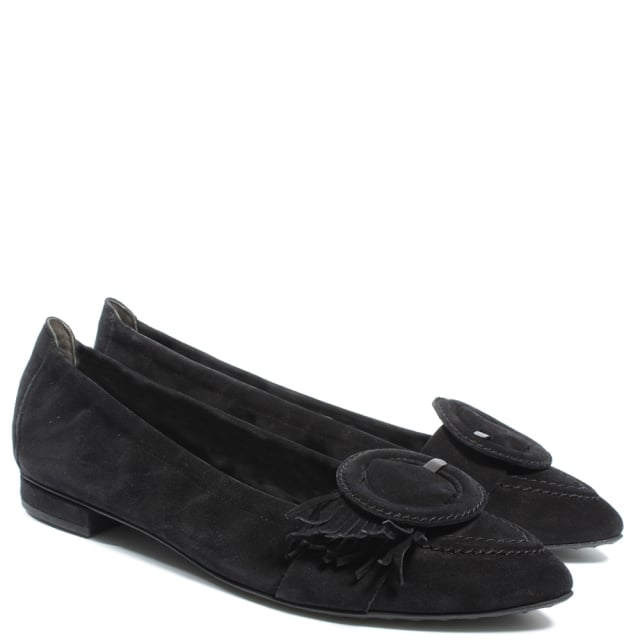 Kennel & Schmenger Luynes Black Suede Pointed Toe Fringed Pump