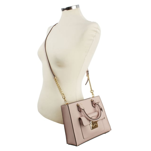 Michael Kors Bridgette Small Saffiano Pale Pink Leather Cross-Body Bag