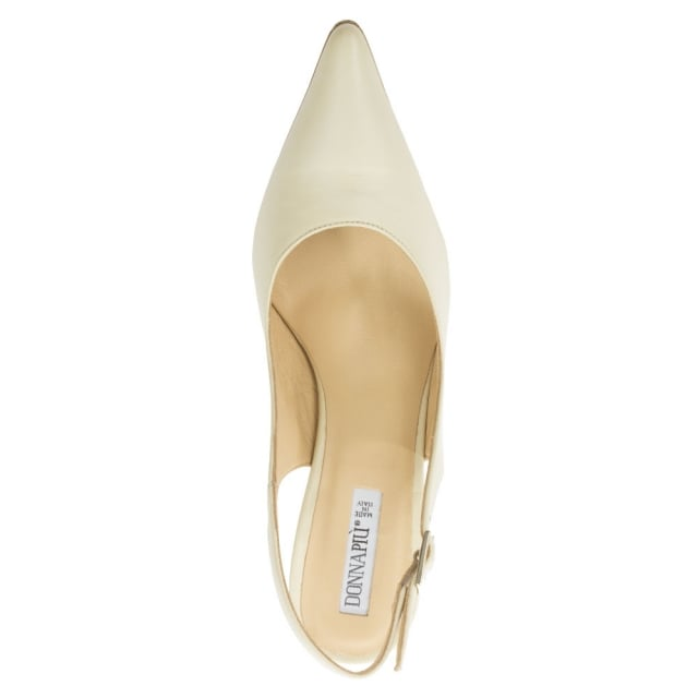 Donna Piu Cream Leather Sling Back Court Shoe
