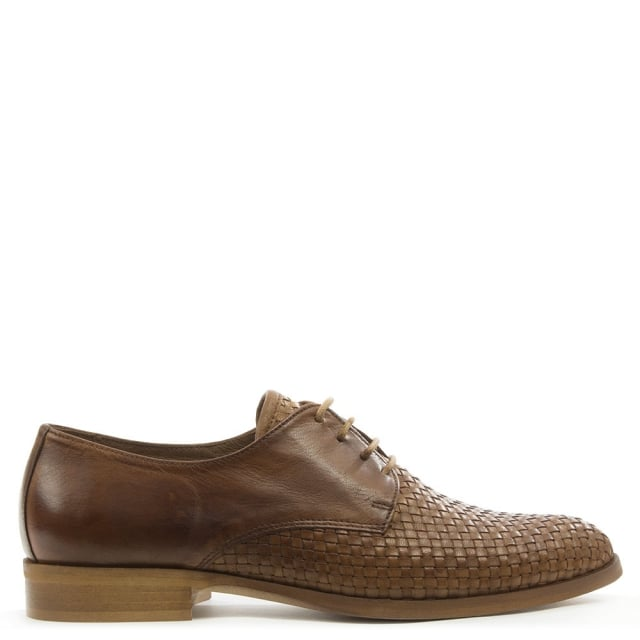 Donna Piu Tan Leather Woven Lace Up Shoe