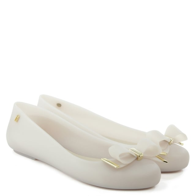 Melissa Space Love White Wave Bow Ballerina Flat