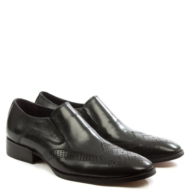 Gucinari Black Leather Brogue Loafer