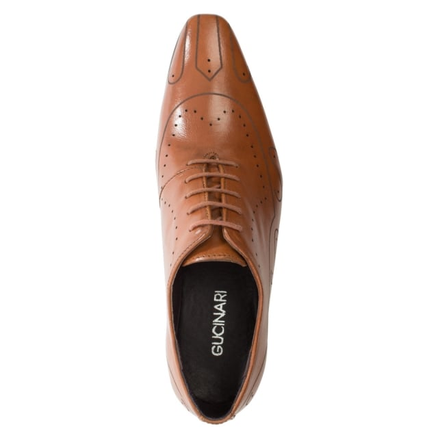 Gucinari Tan Leather Etched Lace Up Shoe