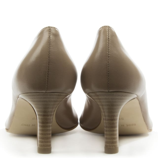 Mani Per Donna Piu Taupe Leather Mid Heeled Court Shoe