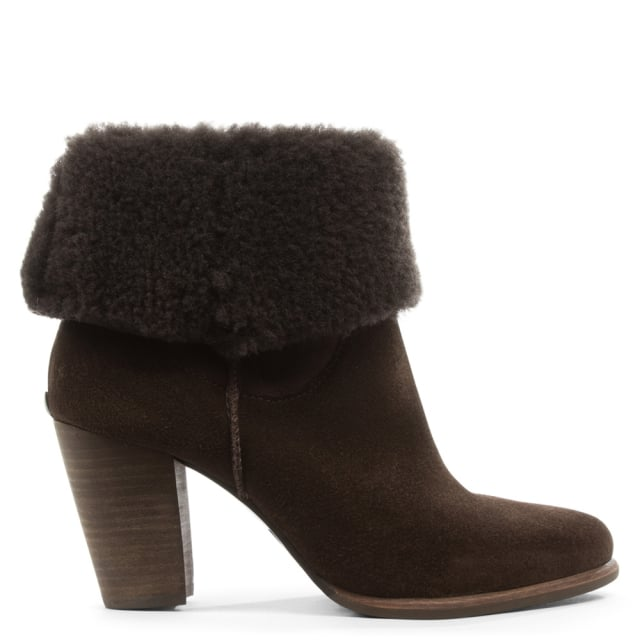 UGG Charlee Brown Suede Heeled Ankle Boot