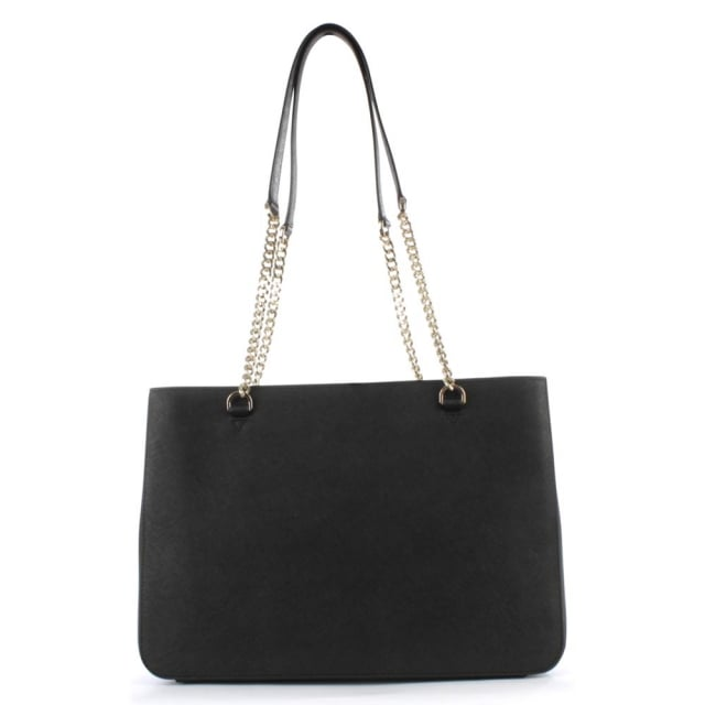 DKNY Bryant Black Saffiano Leather Chain Shopper