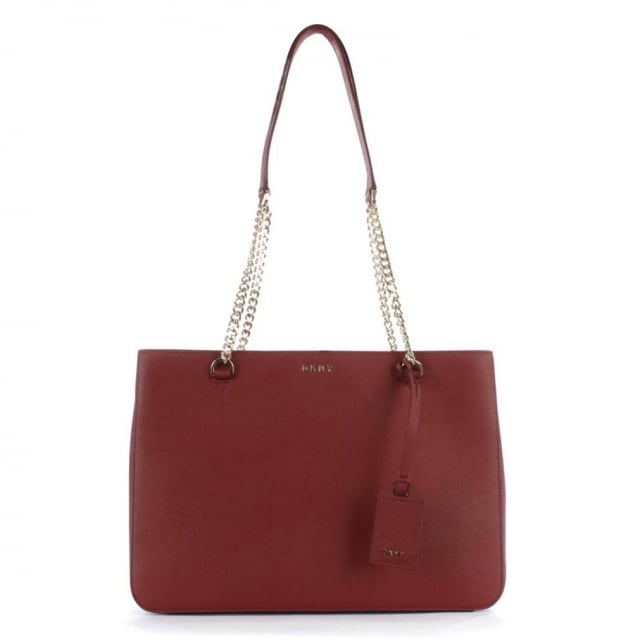 DKNY Bryant Red Saffiano Leather Chain Shopper