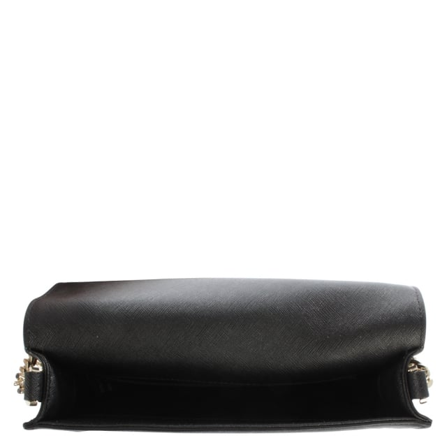 DKNY Bryant Black Saffaino Leather Flapover Cross-Body Bag