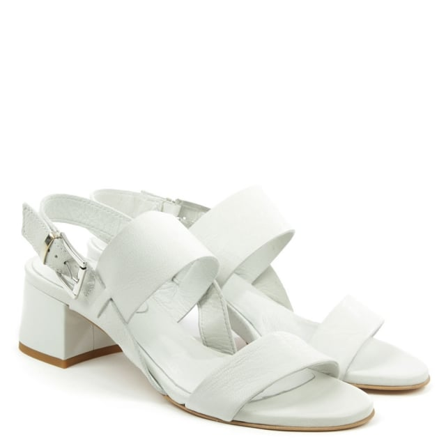 Daniel Mori White Leather Two Bar Block Heel Sandal