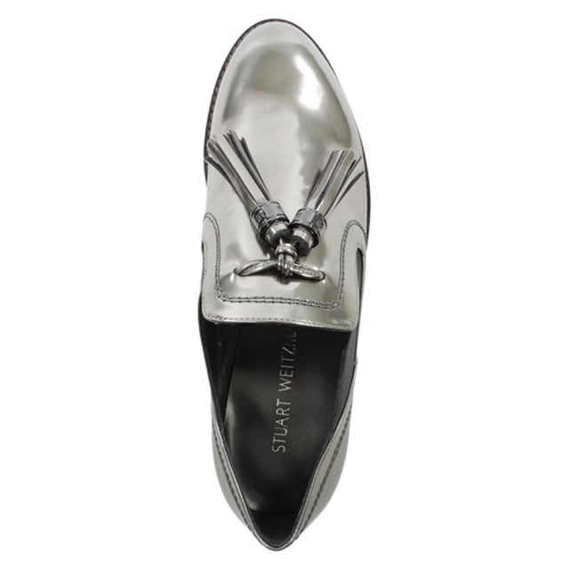 Stuart Weitzman Oh Boy Mirrored Pewter Leather Loafer