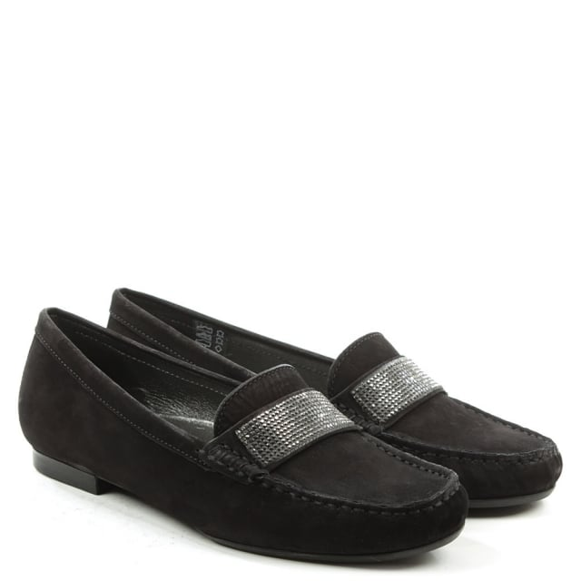 Daniel Gaby Black Suede Diamante Embellished Loafer