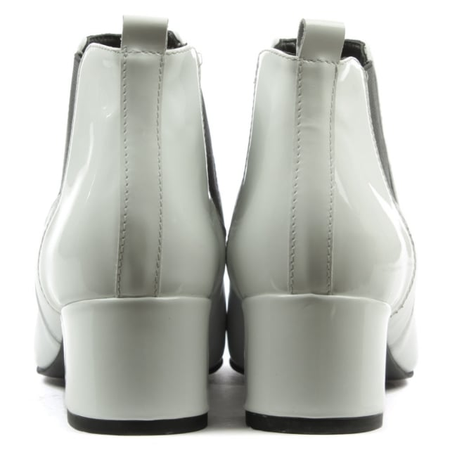 Daniel Mimi White Leather Patent Back Ankle Boot