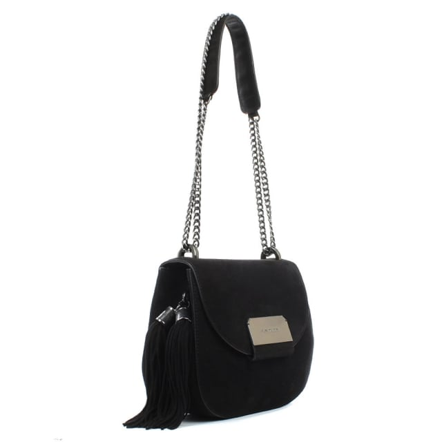 Stuart Weitzman Amazini Black Suede Tassle Saddle Bag