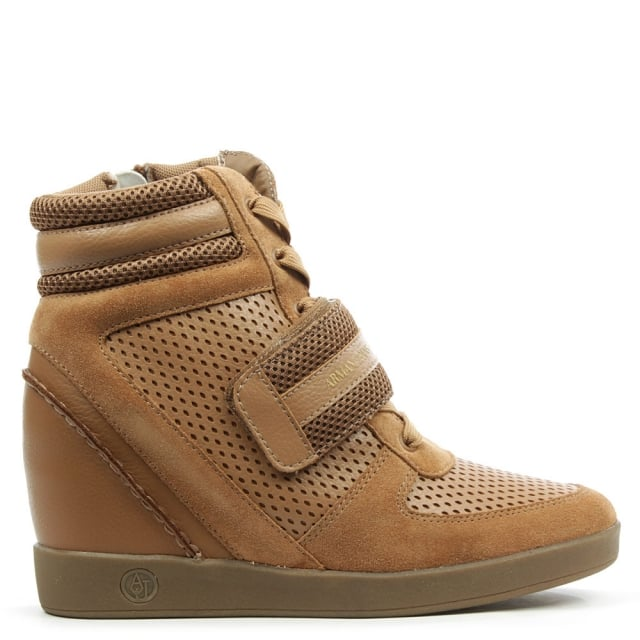 Armani Jeans Beige Leather Wedge High Top Trainer