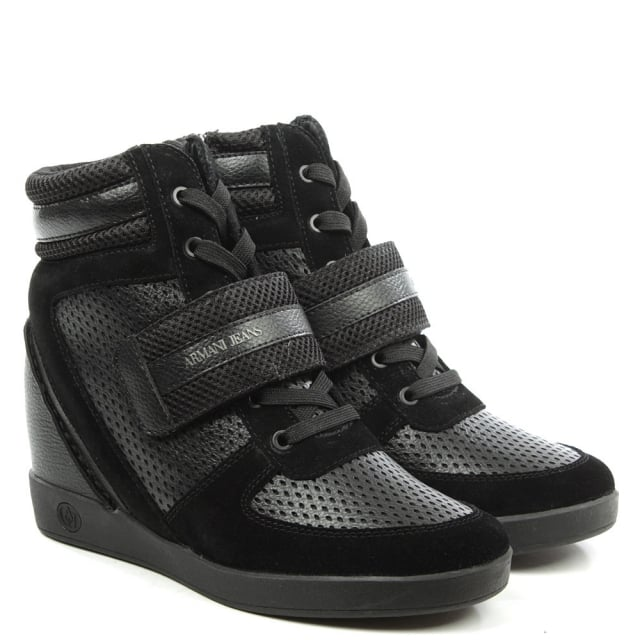 Armani Jeans Black Leather Wedge High Top Trainer