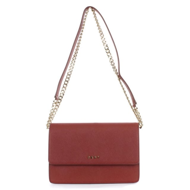 DKNY Bryant Red Saffaino Leather Flapover Cross-Body Bag