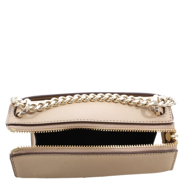 DKNY Bryant Beige Saffiano Leather Cross-Body Bag