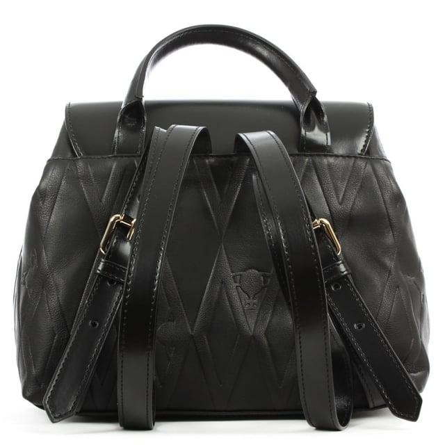 Vivienne Westwood Diamond Orb Black Leather Backpack