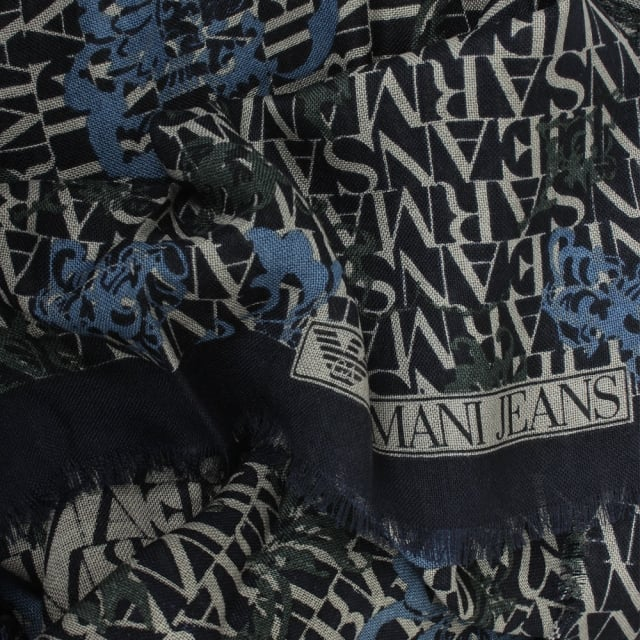Armani Jeans All Over Logo Navy Wool Scarf