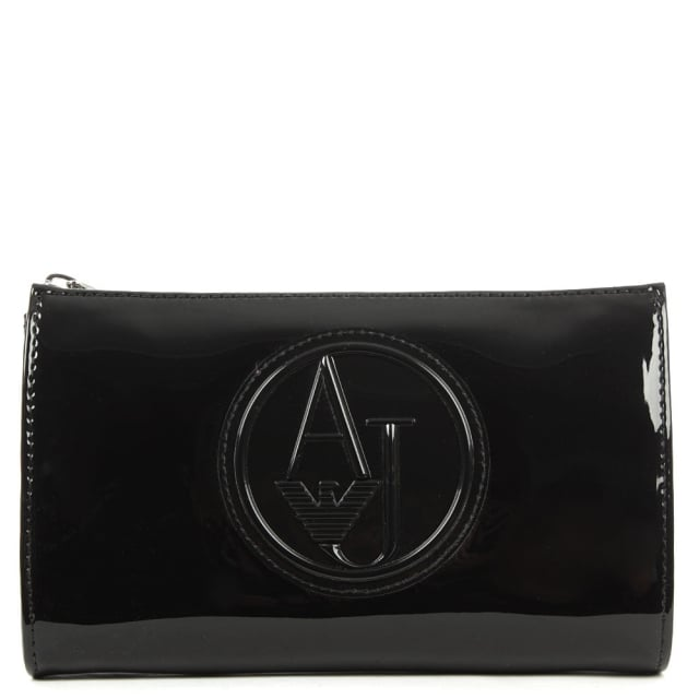 Armani Jeans Beautified Black Patent Cross-Body Bag