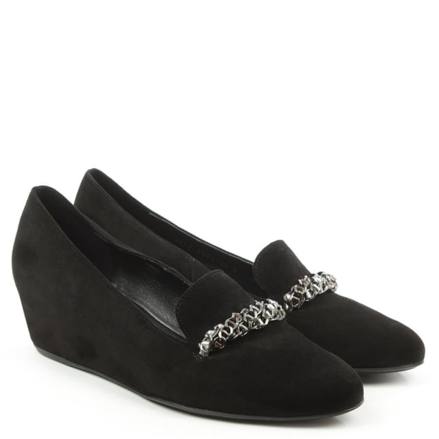 Hogl Chain Black Suede Low Wedge Loafer