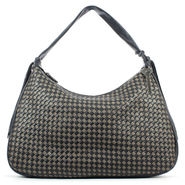 Daniel All Over Woven Blue Leather Slouchy Bag