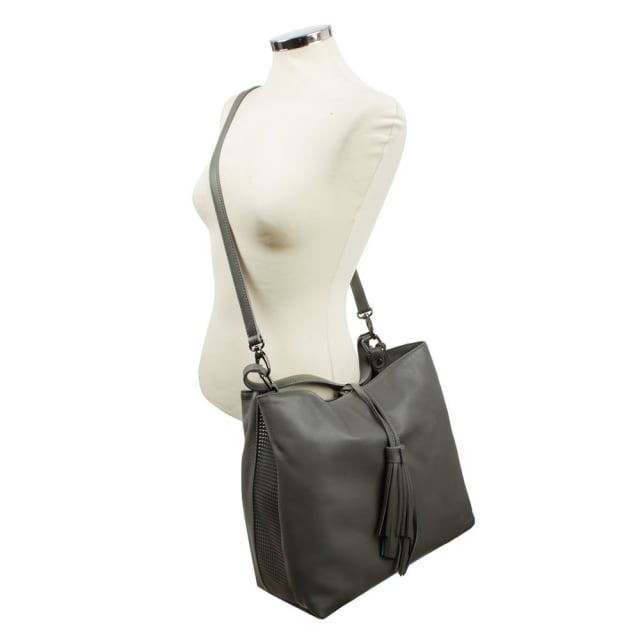 Daniel Tetris Side Grey Leather Shoulder Bag