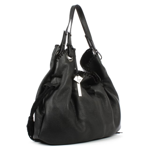 Daniel Slouchy Black Leather Stitched Shoulder Bag