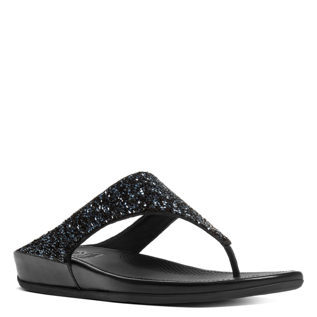 FitFlop Banda Roxy Black Toe Post Sandals